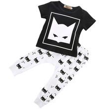 2017 Newborn Baby Boy clothing set Movie hero print Short Sleeve T-shirt+Pants Home bebe kids Outfits Set baby boy Clothes 0-24M