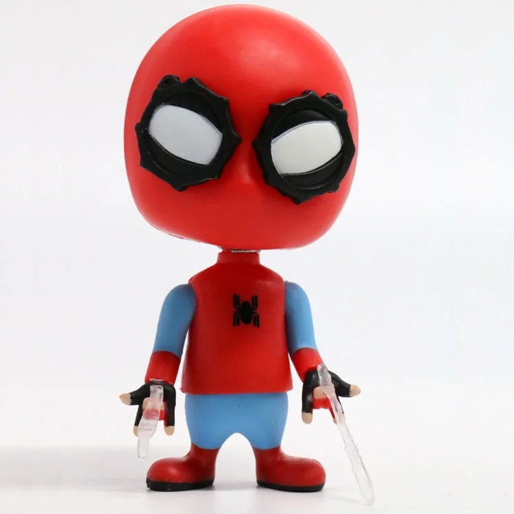 J Ghee New Hot Spider Man Homecoming The Spiderman Q Version Bobble Head Doll PVC Action Figure Toy 9cm