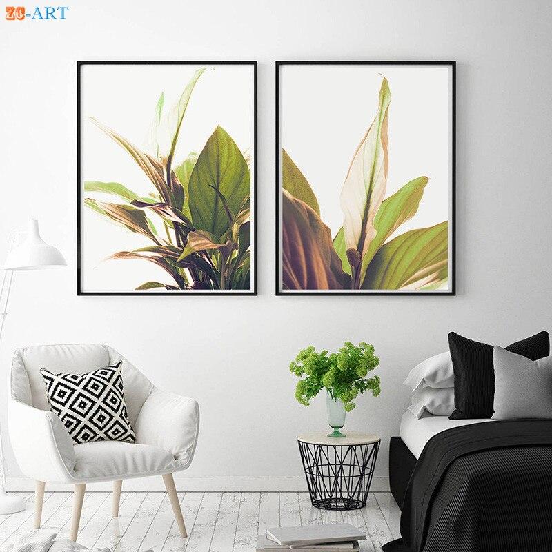 Nordic Botanical Print Poster Tropical Leaf Picture Bedroom Modern ...
