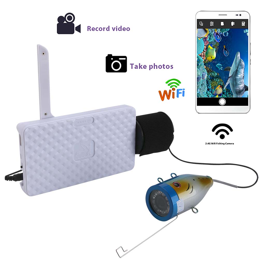 HD 720P Wifi Wireless 15M Underwater Fishing Camera Video Recording For IOS Android APP Supports Video Record Aluminum alloy