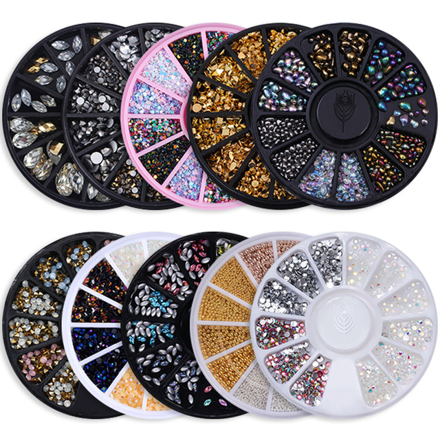 Chameleon Stone 3D Nail Art Decorations in Wheel Irregular Beads Nail Rhinestone Mixed Color Caviar Beads Flat Bottom Nail Studs