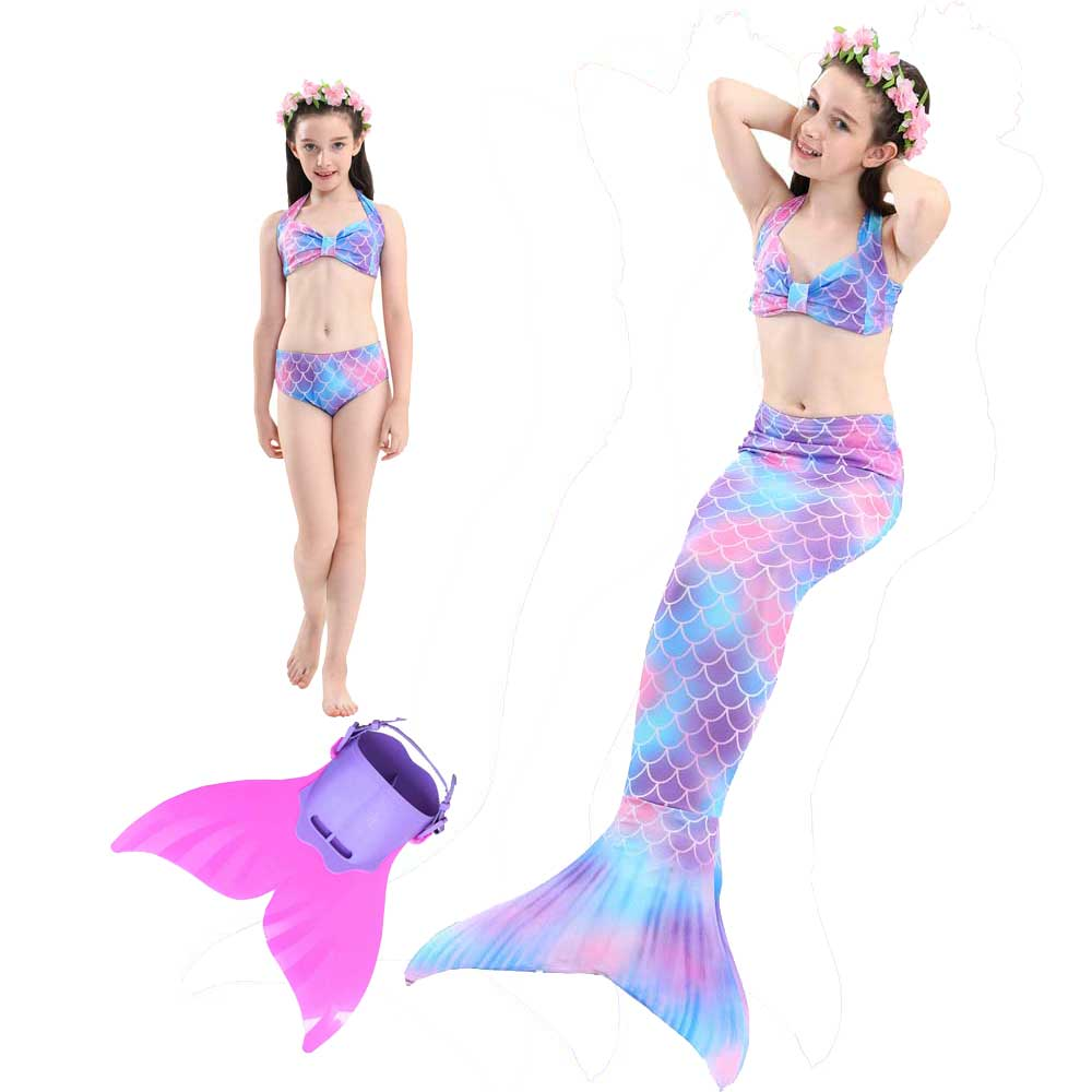 Girls Mermaid Tails for Swimming With Monofin Swimsuit Bikini Sets Kids Child Sparkle Mermaid Tail Halloween Costumes