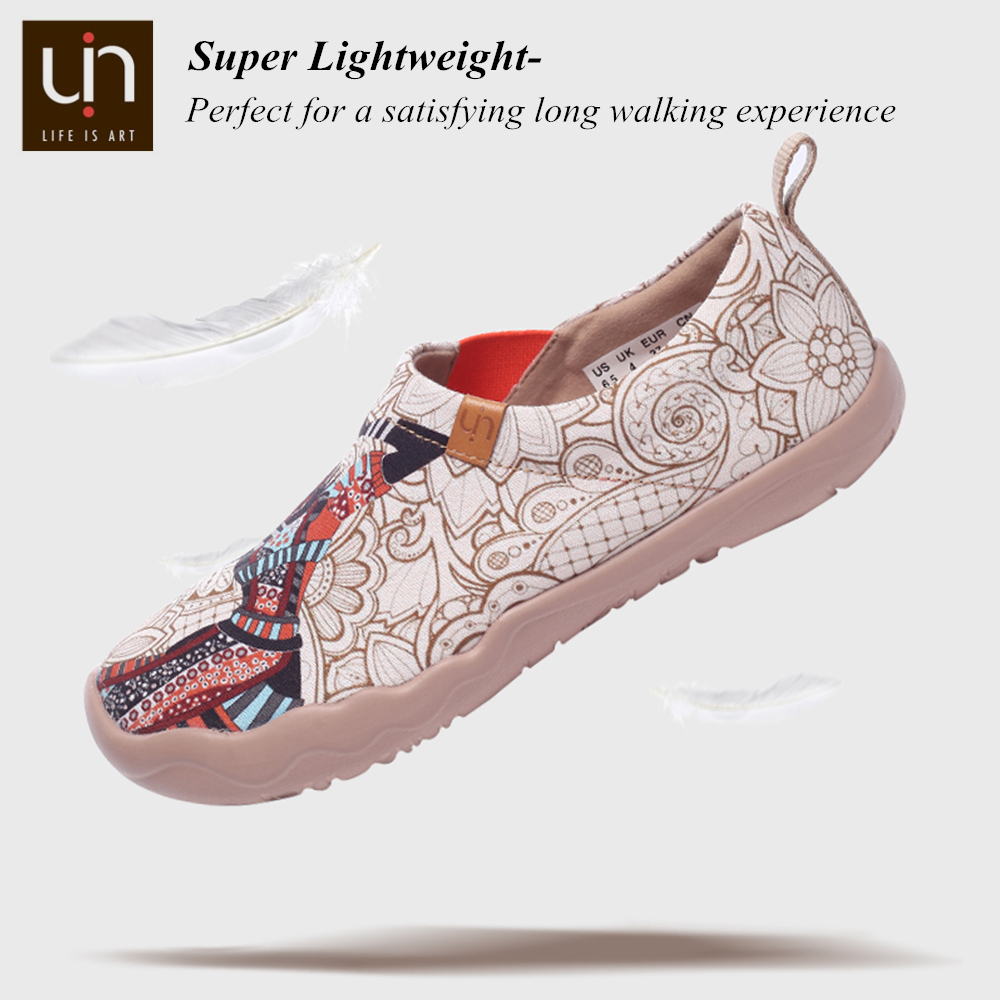 UIN Black Pearl Design Painted Casual Flats Women Round Toe Slip-on Loafers Breathable Outdoor Walking Shoes Ladies