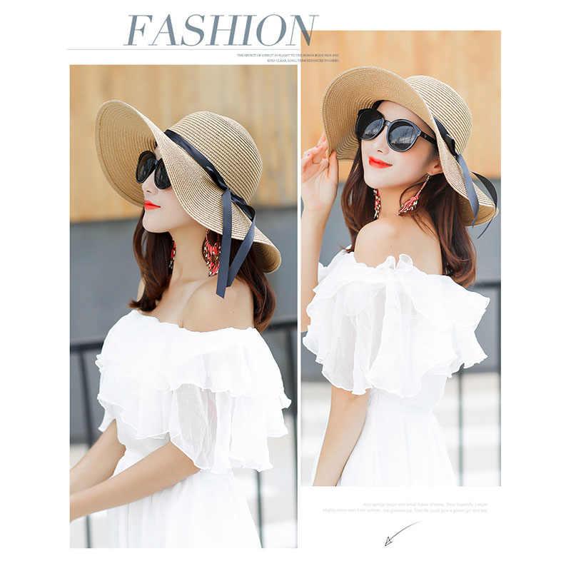 1a9fd59fc00430 ... Summer Wide Big Brim floppy Straw Hats Sun Hats For Women UV Protection  Panama Beach Hats