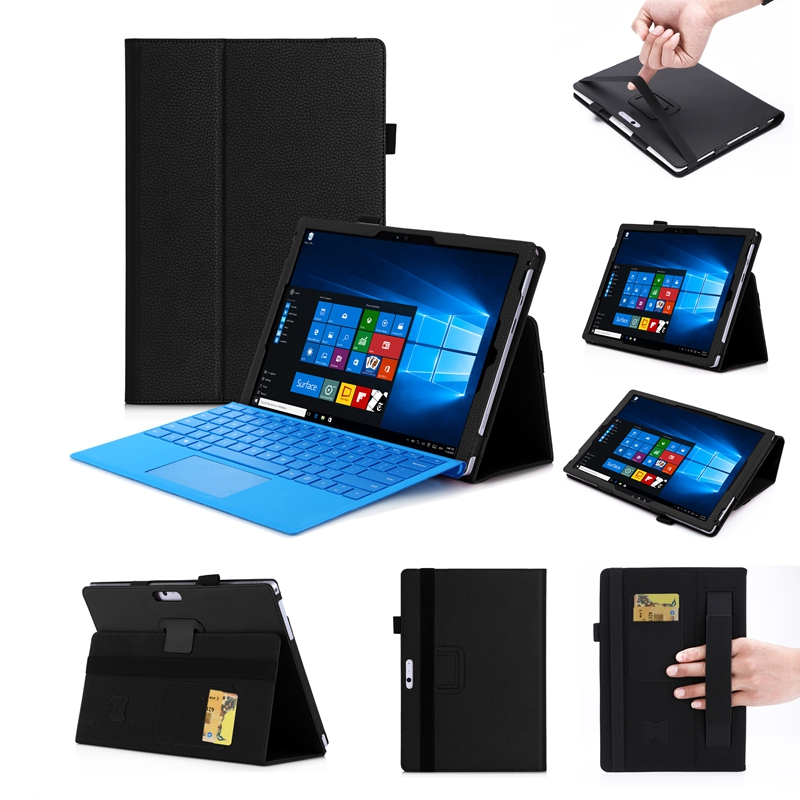US $385 3 8% OFF|Luxury PU Case Cover for Microsoft Surface Pro 2017 Pro 6  2018 Pro 3 4 5 12 3 inch Tablet Hand Holder Grip Shell Card Slots-in