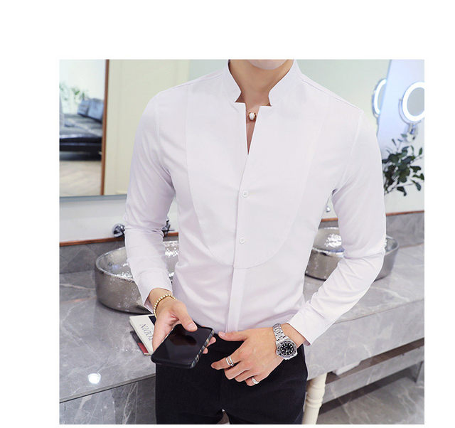 Fall Winter Stand Collar Mens Long-sleeved Dress Shirts Black Red White Slim Elegant Youth Male Business Wedding Formal Shirt 11