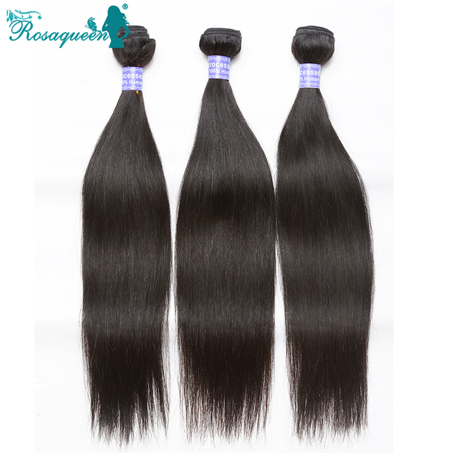 Brazilian Virgin Hair Straight 7A Human Hair Extensions 3Pcs/ Lot Brazilian Human Hair Weave Bundles Rosa Queen Hair Products