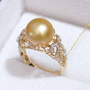 Image 2 - YS 2.68 Grams 14K Solid Gold Anniversary Ring 10 11mm Genuine Saltwater South Sea Pearl Ring Fine Jewelry