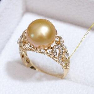 Image 2 - YS 2.68 gramów 14 K z litego złota pierścionek jubileuszowy 10 11mm prawdziwy ze słoną wodą perła z Morza Południowego pierścień Fine Jewelry