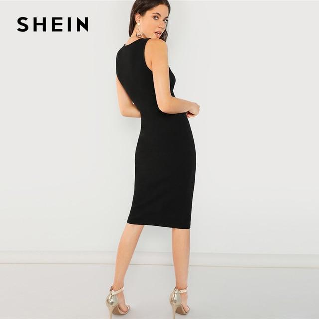 SHEIN Black Elegant Solid Pencil Dress Slim Sleeveless Knee Length Sexy Workwear Dresses Women Plain Sheath Summer Dress 1