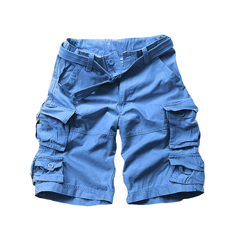2019 New Summer Cotton Loose Half Camouflage Military Style Men Shorts Cargo Shorts For Man With Belt Drop Shipping ABZ274