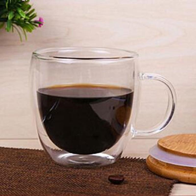 150/250ML Coffee Cups Tea Mugs Handmade Creative Beer Drink a Mug of Office Mug Transparent Drinkware Double Glass Cups|Transparent| - AliExpress