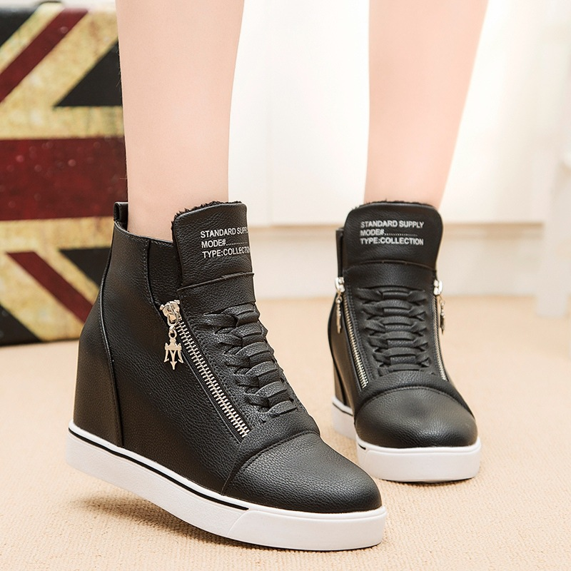 New Autumn Fashioin Women Zipper Flat Round Toe Height increasing Shoes Female Casual Ankle Boots front lace up casual ankle boots autumn vintage brown new booties flat genuine leather suede shoes round toe fall female fashion