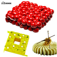 SHENHONG 3PCS SET Art Silicone Moulds 3D Double Layer Cherry Cake Mold For Baking Mousse Chocolate