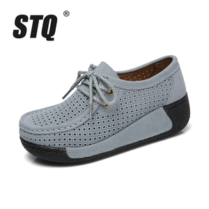 Image 2 - STQ 2020 Autumn Women Leather Suede Flats Women Platform Sneakers Creepers Cutouts Lace Up Flats Moccasins Shoes Woman 7182 1