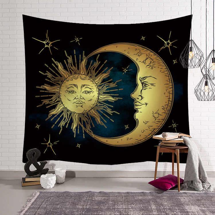 Golden Sun Moon Kain Tapis Dekorasi Selimut Yoga Tidur Mat Large150x130cm Pantai Handuk Karpet Psychedelic Permadani Dinding Karpet