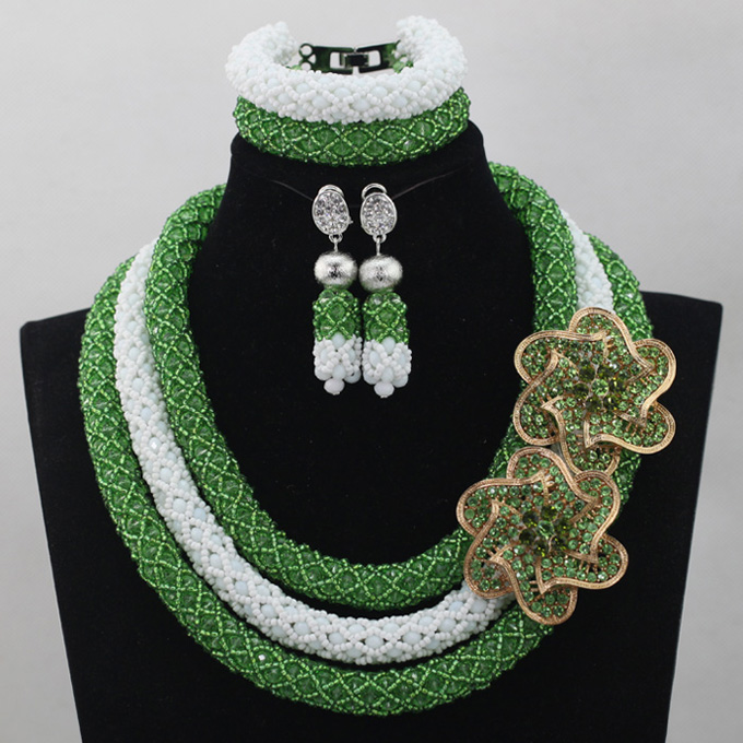 Nigerian Green Fashion African Jewelry Sets White Costume African Beads Set Indian Necklace Set Free Shipping WD456Nigerian Green Fashion African Jewelry Sets White Costume African Beads Set Indian Necklace Set Free Shipping WD456
