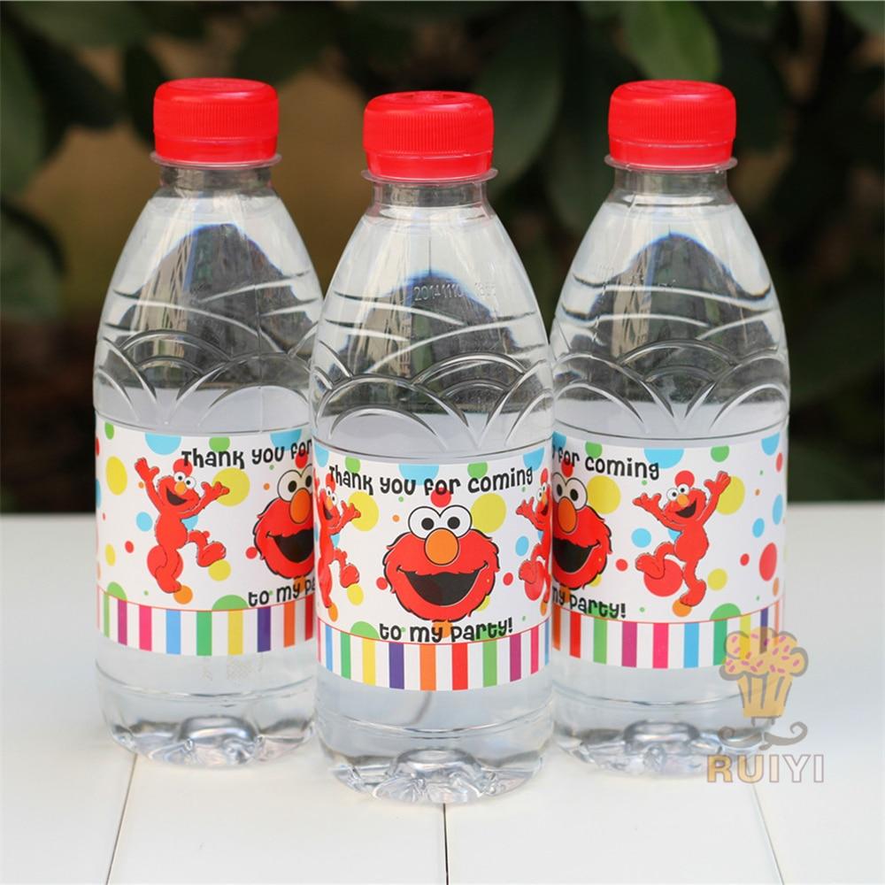 24pcs Sesame Street Elmo Bert Big Bird water bottle label candy bar decoration kids birthday party supplies baby shower favor