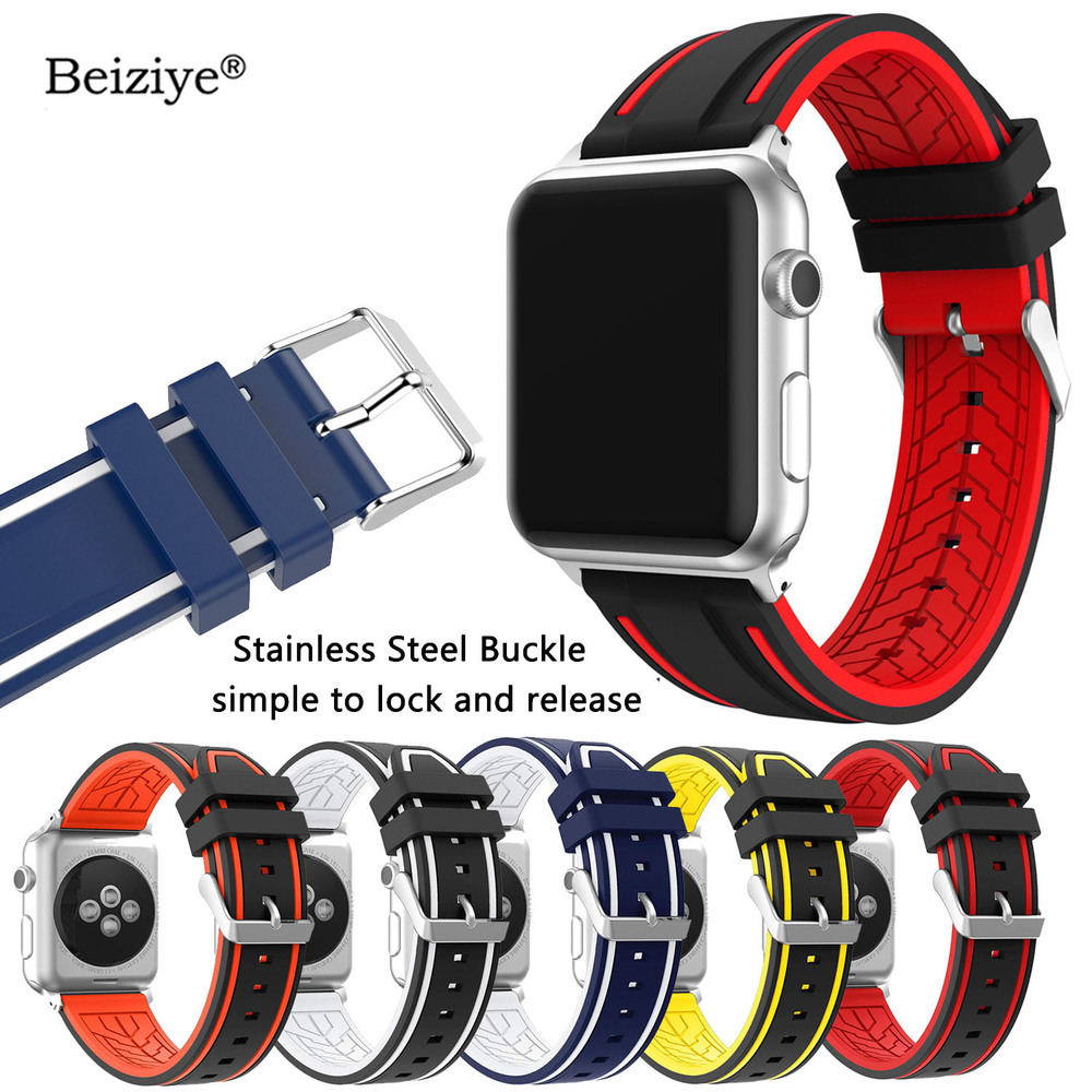 Silicone Sports Watch Band For Apple Watch Bands 42mm 38mm 40mm 44mm Replacement Watch Bracelet Strap For iWatch Series 4 3 2 1Silicone Sports Watch Band For Apple Watch Bands 42mm 38mm 40mm 44mm Replacement Watch Bracelet Strap For iWatch Series 4 3 2 1