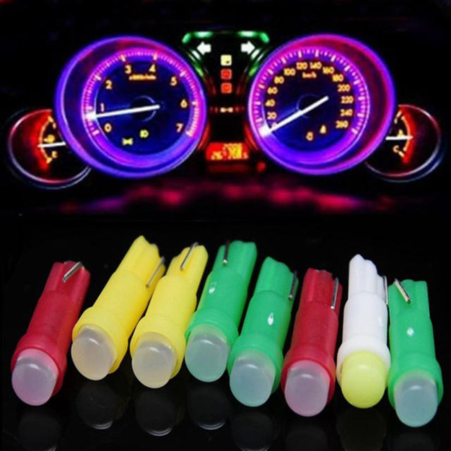 10Pc Car LED Bulb T5 1SMD Car Cob LED Instrument Light Indicator Bulb Car Light Automotive Interior Ambient Light Car Accessory