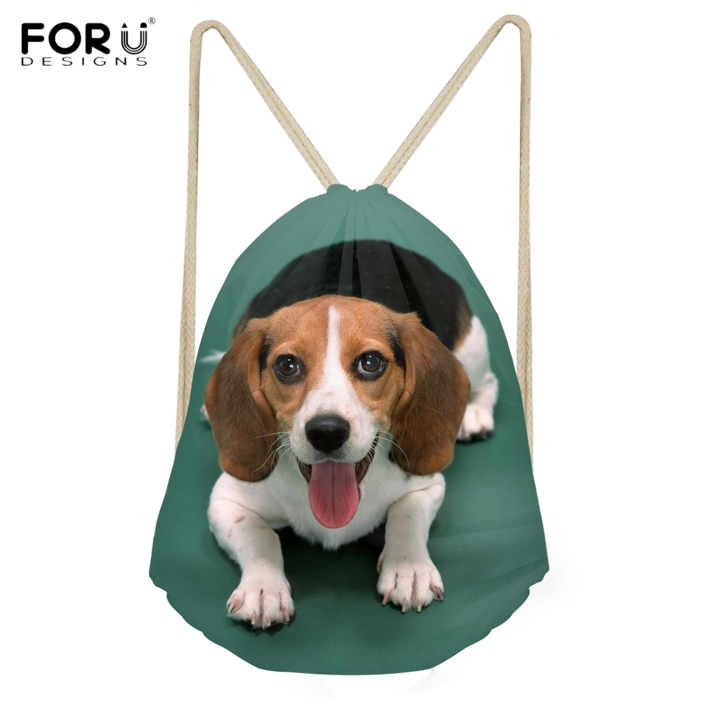 FORUDESIGNS Cute 3D Dogs Beagle Printing Women Men Drawstring Bags Fashion Beach Sack Bags for Woman Softback Storage Backpacks ...