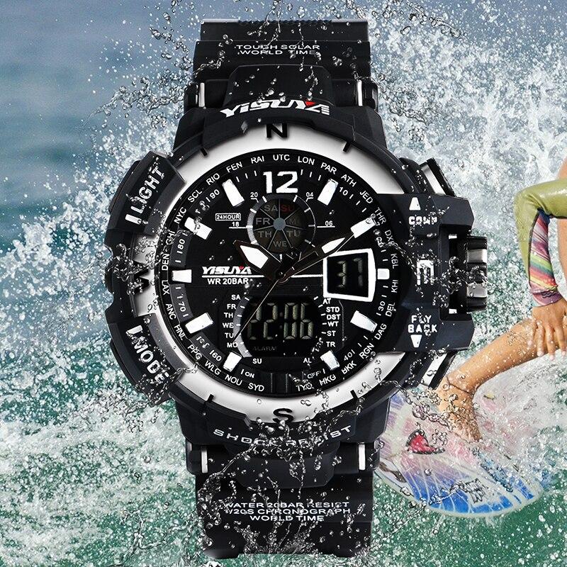 YISUYA Luxury Brand Day-Date Display Waterproof Japan Quartz Battery Wrist Watch Water Resistant Simple Digital Watches For Men