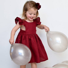 66c5a49c7b 2018 girls summer floral princess dress Pure color small flying sleeve  pleated princess dress girls casual dress 1-5y Kid cloth
