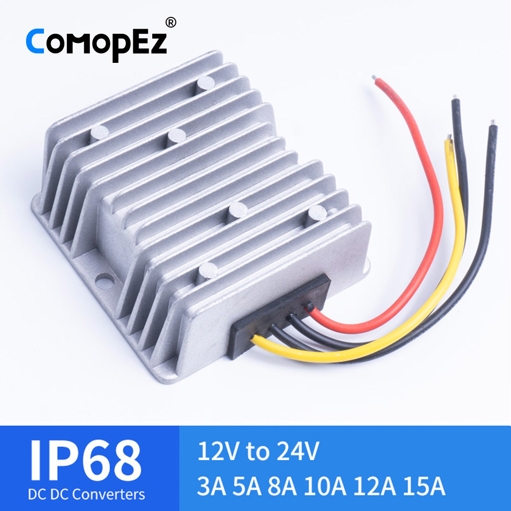 12V TO 24V 3A 5A 8A 10A 12A 15A DC DC Voltage Converter Waterproof IP68 CE Certificated 12VDC to 24VDC 10AMP Boost Converter image