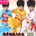 Crianças mostra-manga curta conjunto de roupas de artes marciais kung fu Chinês uniformes trajes para 100 cm-170 cm
