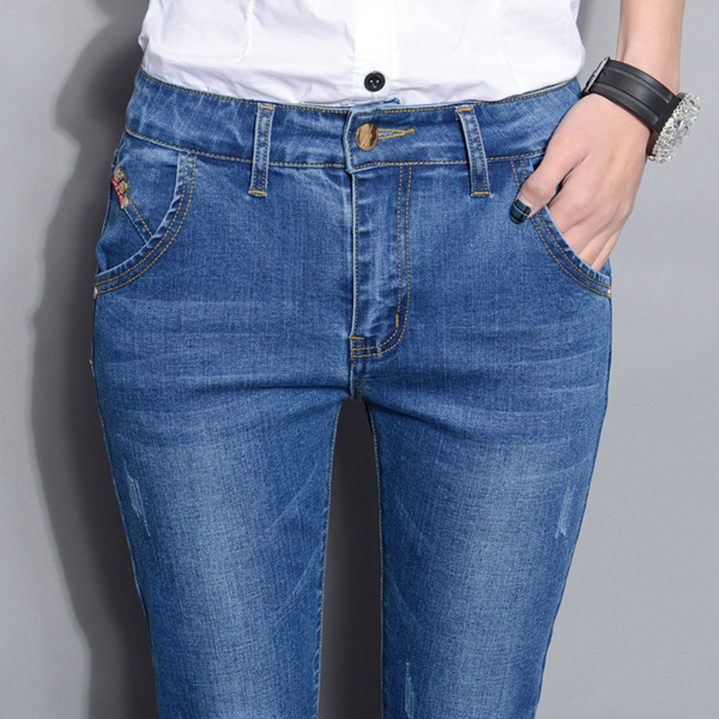 Women High Waist Jeans 2017 New Brand Autumn Blue Elastic Pencil Denim Pants American Apparel Skinny Jeans Woman Trousers KZ097 american apparel patchwork women pencil jeans low waist imported skinny pants for women spring style brand clothing womens s2806