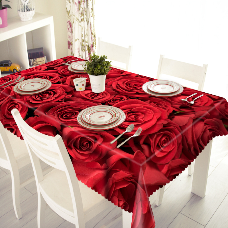 3D Tablecloth Merry Christmas Red Rose Pattern Waterproof Cloth Thicken Rectangular and Round Wedding Table Cloth