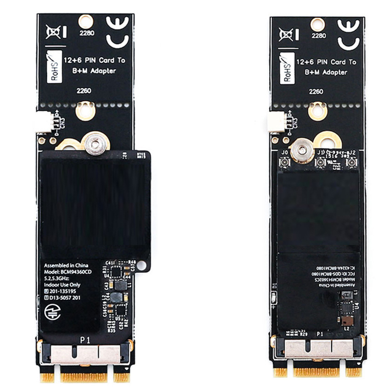 Pcie Bt2 12+6 Pin Bluetooth Wifi Wireless Card Module To M 2 Ngff Key B+M  Adapter For Mac Os Bcm94360Cd Bcm94360Cs2 Bcm943224