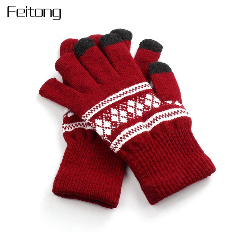 Screen Gloves Women Snowflake Printing Knitted Gloves Winter Unisex Men Hand Warm Mittens Women's Glove Mitts #JOY