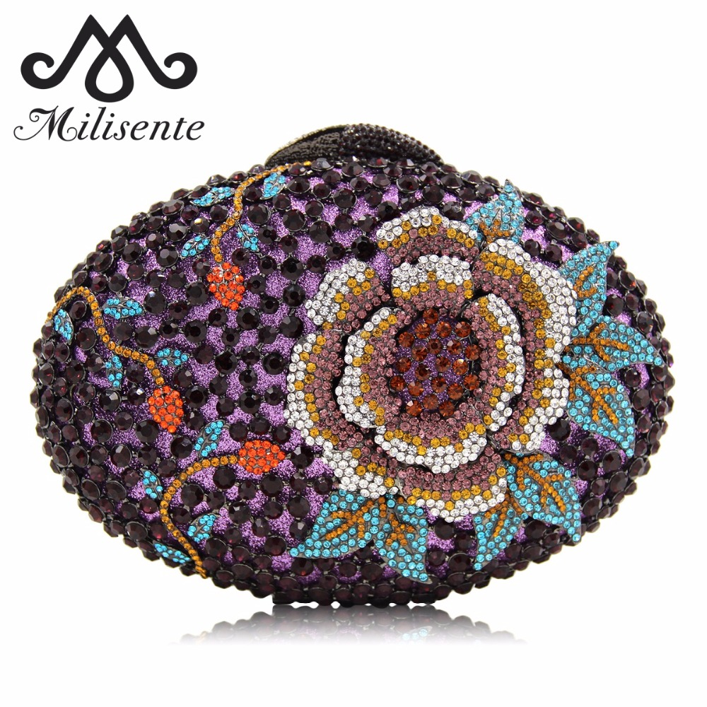 Milisente Women Crystal Clutch Evening Bags Peony Flower Oval Shaped Wedding Party Purses For Blue Dark Purple milisente high quality luxury crystal evening bag women wedding purses lady party clutch handbag green blue gold white
