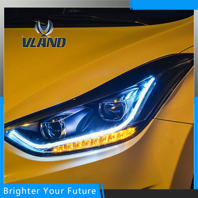 Vland Car Styling for Hyundai Elantra 2013-2016 Headlights Lamp Assembly Elantra Front Lights LED Headlight Modify Custom смеситель для душа kaiser arena с душем хром 33077