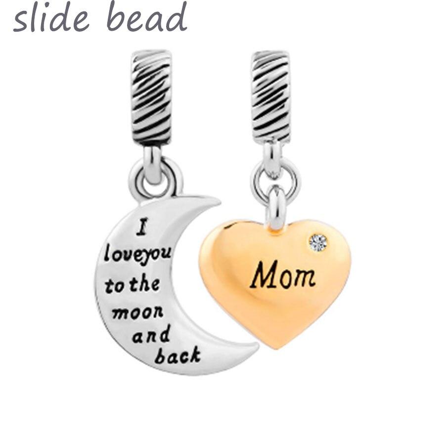 1c00492fb17b1b Fit Pandora braccialetti di fascino Del Cuore Luna Mamma Aprile Birthstone  I Love You To The E Posteriore In Vetro di Murano Branelli Allentati in Fit  ...