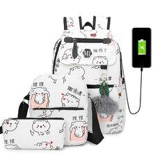 3 pz/set di ricarica USB tela donne zaino scuola di stampa zaini zainetto per adolescenti Student Book Bag Girl Boy Satchel