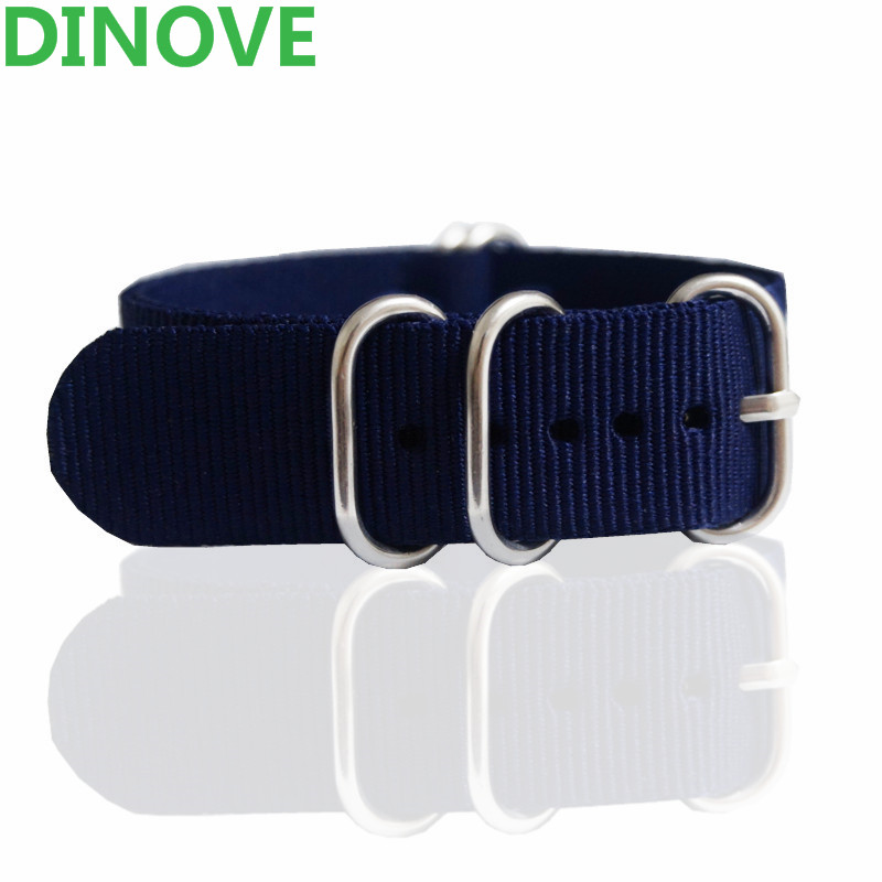 DINOVE High Quality Nylon Watch Band Straps 16mm 18mm 20mm 22mm Nato Zulu Watch Band 24mm Navy Solid color 18mm 20mm 22mm watchband high quality nato nylon wach band rose gold buckle zulu watch strap 4 color available