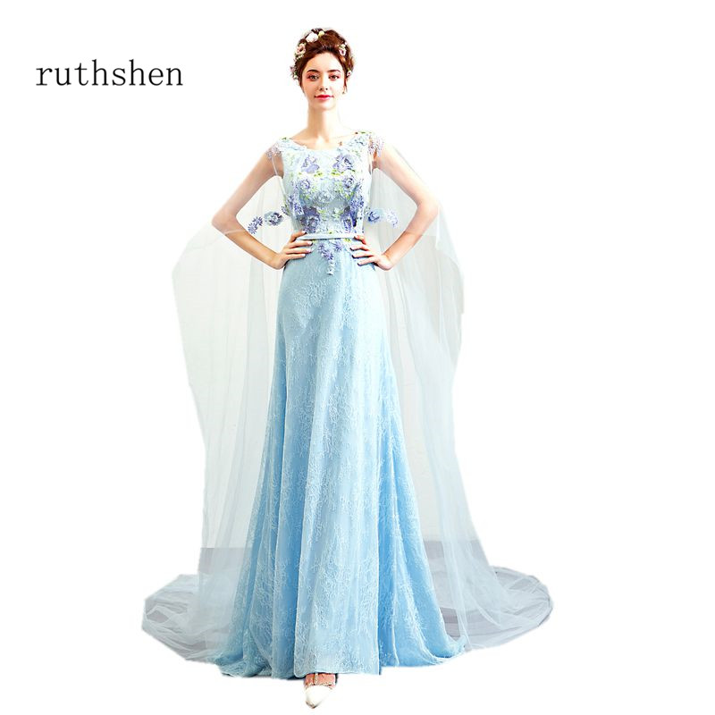 ruthshen Light Blue Party   Prom     Dresses   Scoop Neck Sleeveless 2018 New Arrival Lace Robe De Soiree Elegant Gown For Evening Party