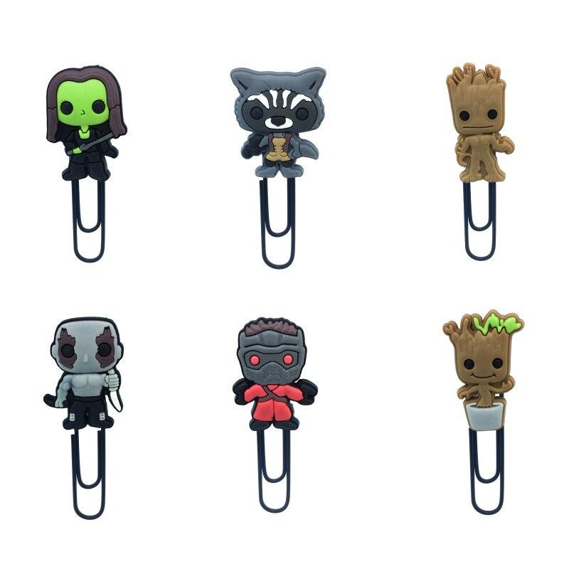 18pcs Guardians of Galaxy Cartoon Hot Movie Figure Groot Bookmark PVC&Metal Paper Clips Kid Gift Stationery School Supplies