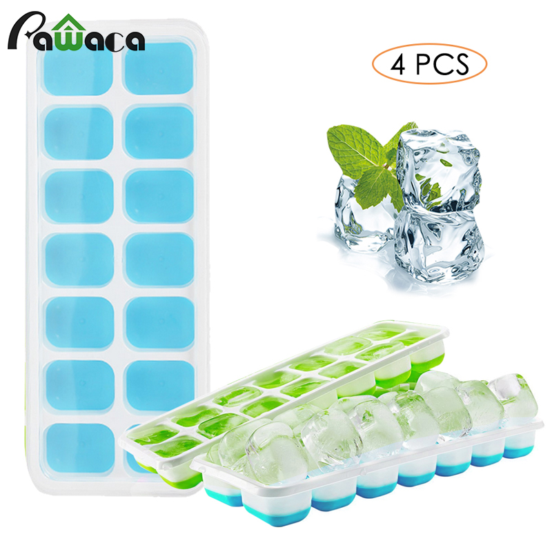 4pcs Silicone Ice Cube Trays with Lid DIY Ice Cube Candy Baking Mold Whiskey Drink Ice Cream Maker Tray for Kitchen Bar Party