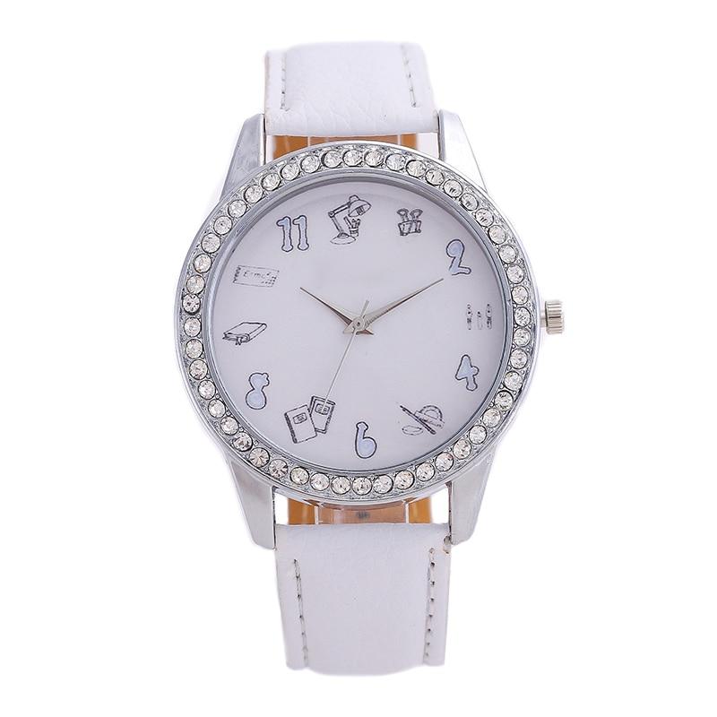 Fashion Men's Watches Brand Ladies Quartz Watch Inlaid Diamonds Personality Icon Display Digital Pointer Mirror  Leather Watch