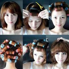 2016 Hot 6pcs set Grip Cling Hair Styling Roller Curler Hairdressing tool Soft DIY 7 Sizes