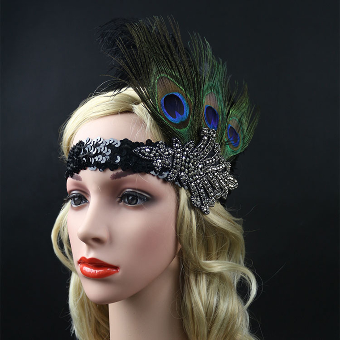 Hair Accessories Black Rhinestone Beaded Sequin Hair band 1920s Vintage Gatsby Party Headpiece Women Flapper Feather Headband