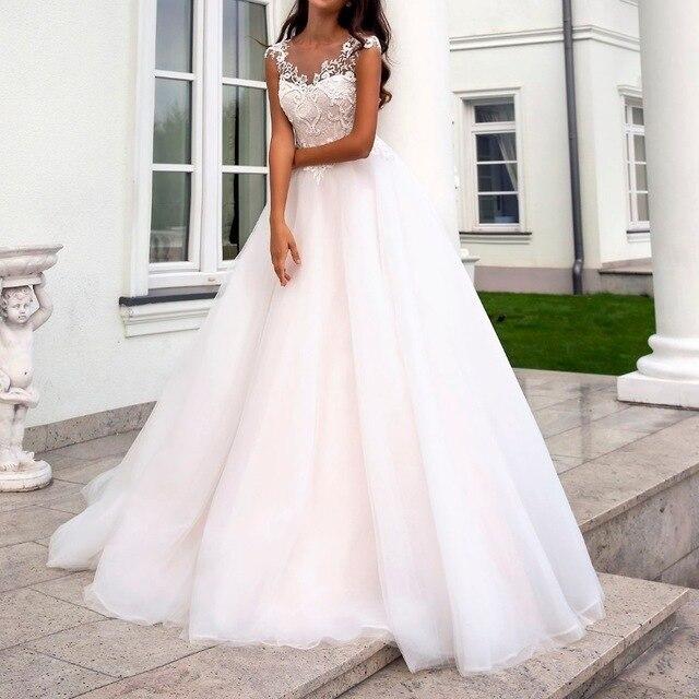 สีชมพูน่ารักงานแต่งงานชุดแขนสั้น Illusion Lace Applique Zipper A Line ชุดเจ้าสาว vestido de noiva