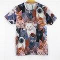 YNM Новая мода женщины мужчины 3d животных печати футболка мило кошки Двухместный отпечатано смешные футболки Galaxy короткие рукава футболки топы тройник