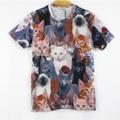YNM nuevas mujeres de los hombres 3d animal print camiseta linda gatos Doble impreso camisetas divertidas Galaxy manga corta camisetas tops camiseta
