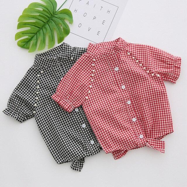 216e418d5 2017 Korea style Cotton/linen Summer Baby Girls Clothes Short Sleeve  bowknot cute Kids Plaid