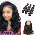 Brazilian Virgin Hair Body Wave With Closure 360 Lace Frontal With Bundle Pre Plucked Brazilian Body Wave With Closure 3 Bundles