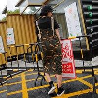 Fashion Camouflage Spaghetti Strap Women Sets Hip Hop Ladies Two Suits Female Slim Black Tops YN1784